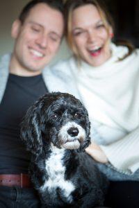 Ali Shapiro with husband Carlos and dog Coffee